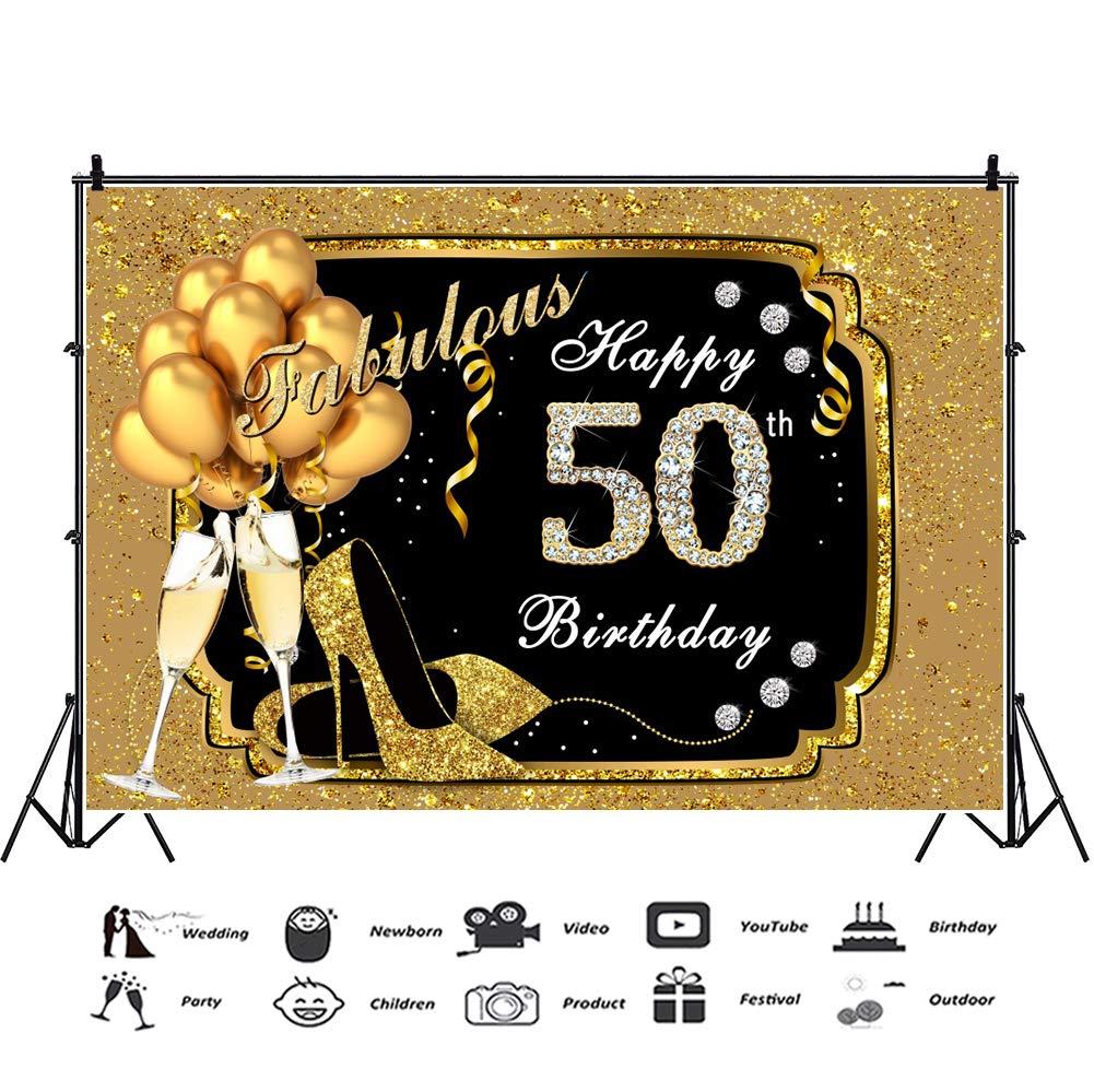 OERJU 2,2x1,5m Feliz cumpleaños Fondo Fabuloso de Oro Feliz 50 cumpleaños de Diamante Decoración Globo de champán Fiesta de cumpleaños Decoración de ...