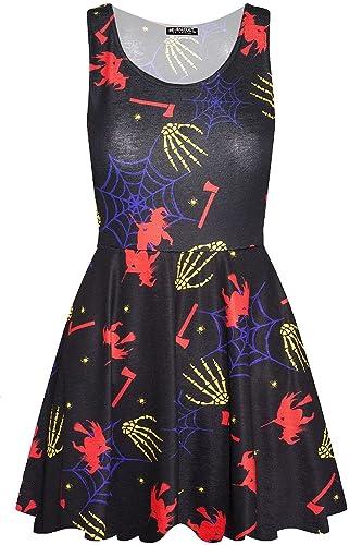 BE Jealous Donna Costume Halloween Skull rete GIOIELLI ZUCCA PARTY donna vestito stile pattinatrice ...