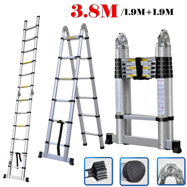 3.8M 12.5ft Aluminium DIY Foldable Extendable Builder Ladders Telescoping Ladder Multi Purpose Portable Collapsable Aframe Stepladder for Home Loft Office 330lb Capacity dicn factory