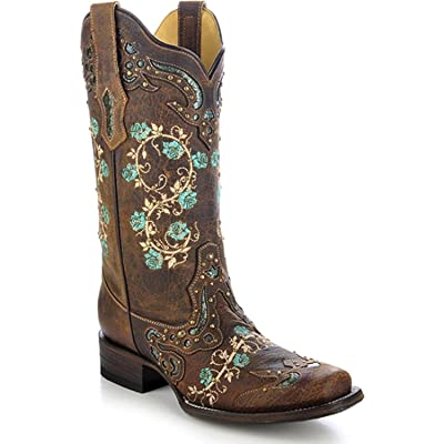 CORRAL Women's Studded Floral Embroidery Cowgirl Boot Square Toe: Clothing