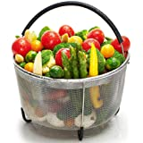 Steamer Basket for Instant Pot 8 Qt, Stainless Steel Mesh Strainer Steamer Insert with Silicone Handle and Feet, Must have Kitchen Accessories for Steaming Vegetables, Fruit and Eggs - (8 Qt)