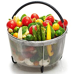 Steamer Basket for Instant Pot 6 Qt, Stainless Steel Mesh Strainer Steamer Insert with Black Silicone Handle, Must have Kitchen Accessories for Steaming Vegetables, Fruit and Eggs - (6 Quart)