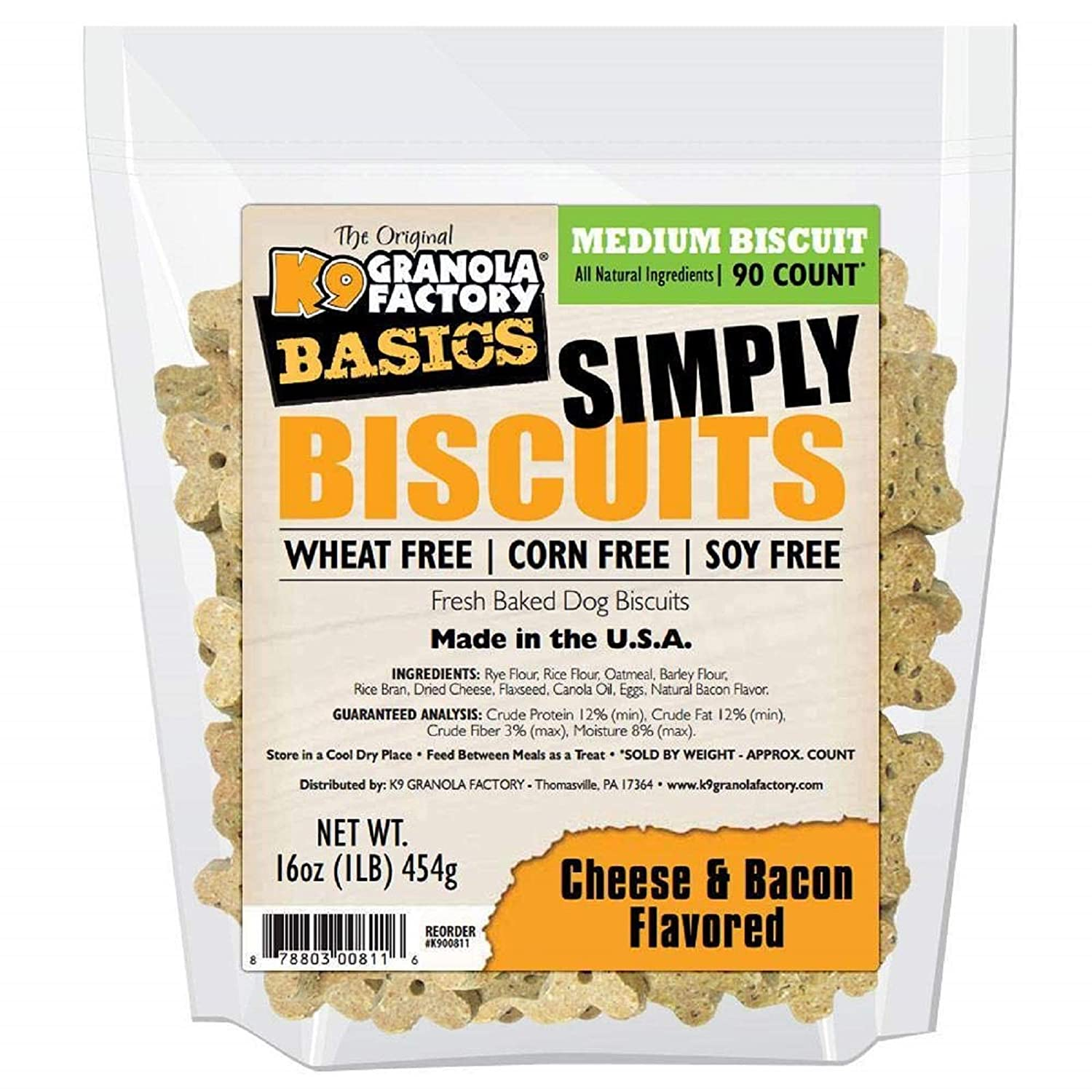 (Medium 0.5kg) Simply Biscuits Cheese Bacon Dog Treat