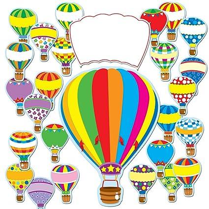 photo regarding Printable Hot Air Balloon identified as Carson Dellosa Warm Air Balloons Bulletin Board Mounted (110163)