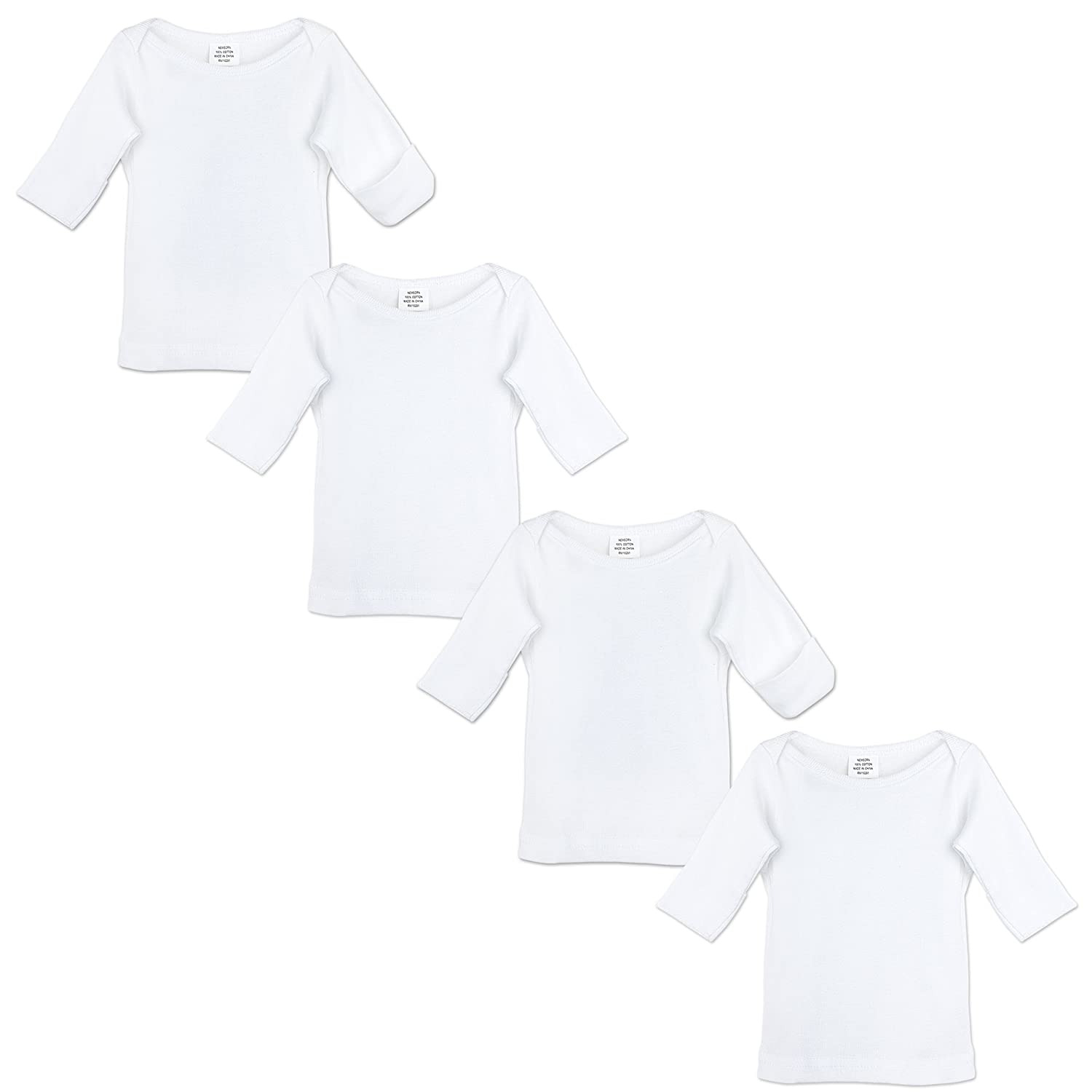 Newborn Long Sleeve T-Shirts (4-Pack) White Cotton Undershirts | Comfort Essentials | Girls & Boys Mitten Cuffs | 0-3 Months