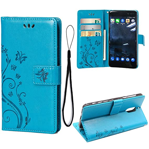 brand new 836f6 9e184 Teebo Wallet Case for Nokia 6, 3 Card Holder Embossed Butterfly Flower PU  Leather Magnetic Flip Cover for Nokia 6 (Blue)