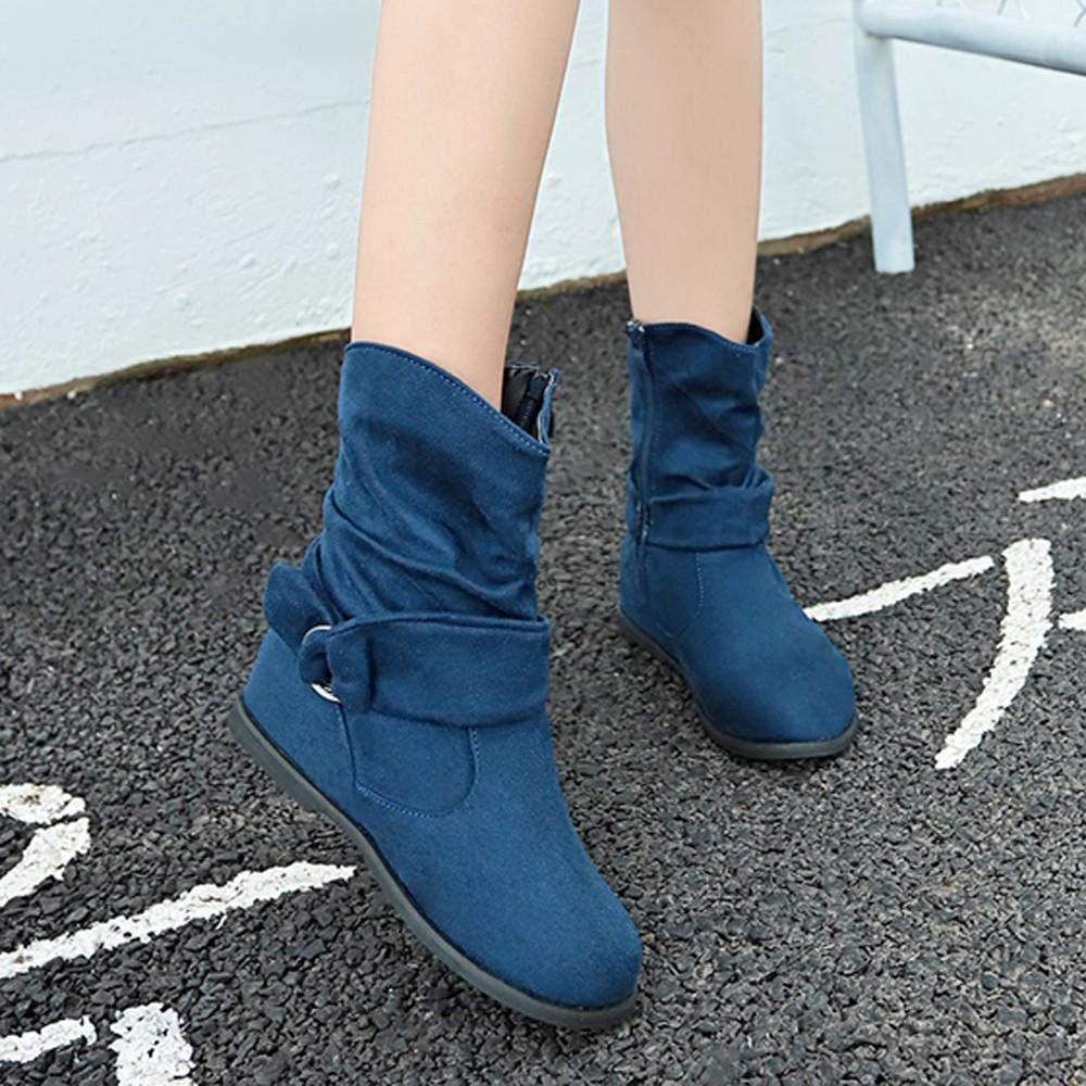 Logobeing Botines Mujer Tacon Invierno Planos Tacon Ancho Piel Botas de Mujer Medio Zapatos Combat Casual Planas Zapatos de Plataforma-5695 35,Azul