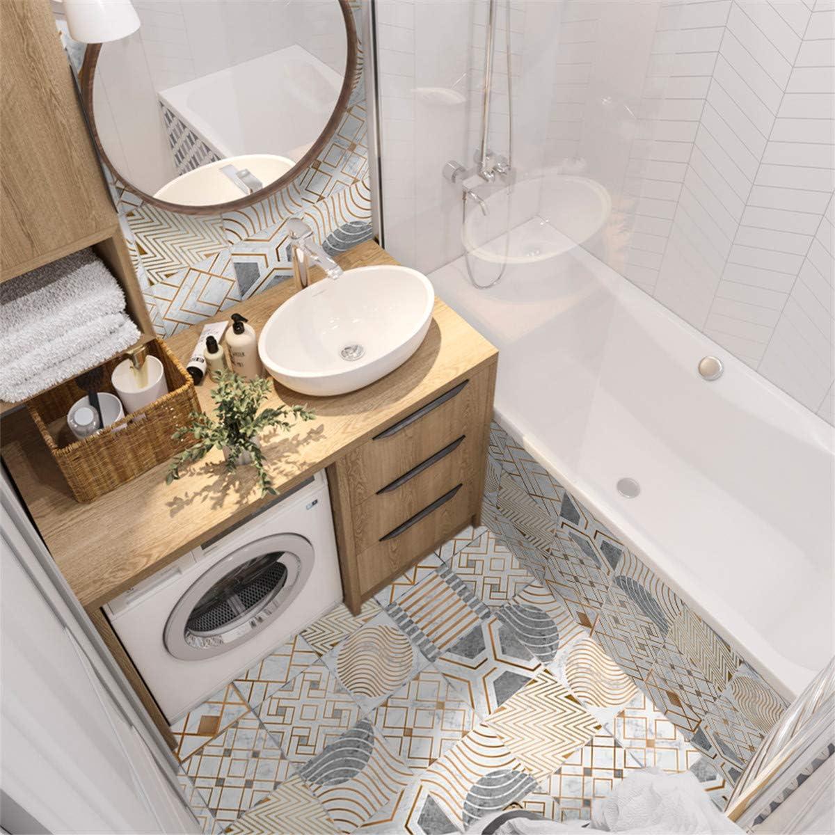 Auto-adh/ésif Imperm/éable 3D Marocain Style Adh/ésive D/écorative /à Carreaux Hiser 10 Pi/èces Stickers Carrelage pour Salle de Bain Cuisine E,10x10cm