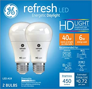 GE Lighting 36834 Light Bulb Refresh HD Dimmable LED A19 6 (40-Watt Replacement), 450-Lumen Medium Base, 2-Pack, Daylight, 2