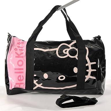 c4b17d1e3e92 Hello Kitty Patent Leather Duffle Gym Travel Bag Tote Shoulder Black