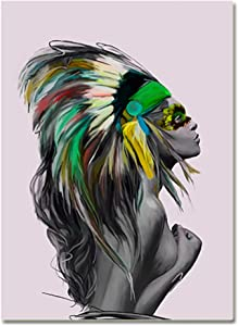 Pixz-zazz Native American Wall Art Decor, Beautiful Feathered American Indian Woman Painting on Canvas Ready to Hang for Living Room Dining Room Bedroom Bathroom Office (20 x 28 inches)