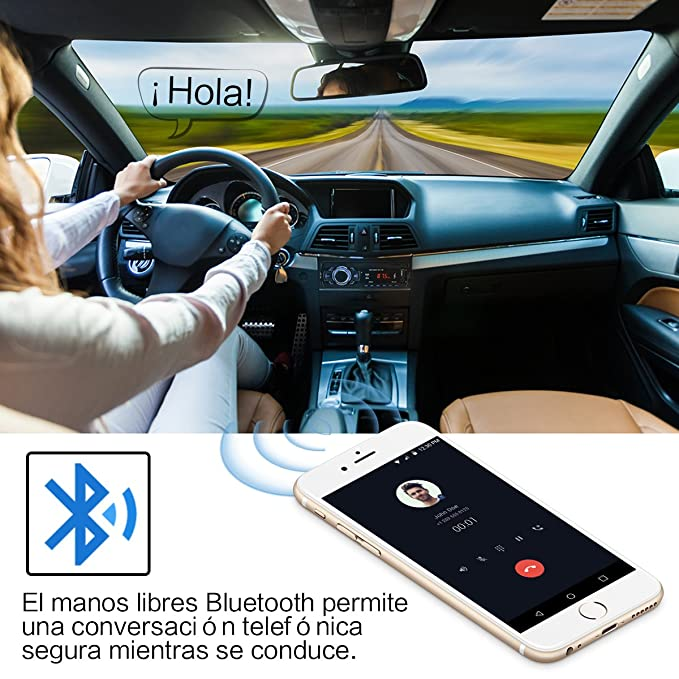 Radio Coche Bluetooth Reproductor de Mp3 Autoradio FM Estéreo de Automóvil Receptor de Audio/Radio Manos Libres MP4 / SD Car Stereo Soporte USB Tarjeta SD ...