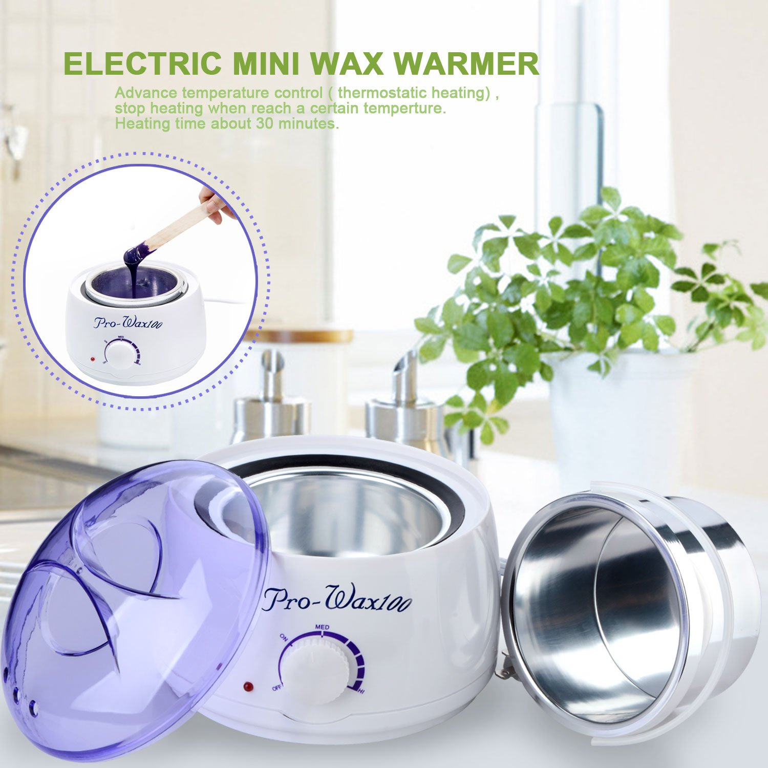 ASDOMO 500CC Portable Electric Hair Removal Wax Warmer+10.58 OZ Hair Removal Hard Wax Beans+10PCS Wax Applicator Sticks