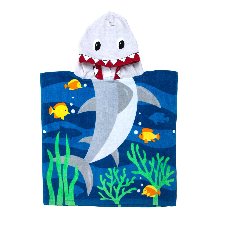 Florica Algodón Niños Niñas Encantador Ponchos Encapuchados baño Toalla de baño (Tiburón) product image