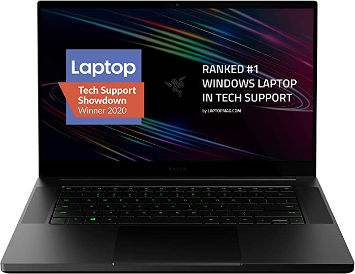 "Razer Blade 15 Base Gaming Laptop 2020: Intel Core i7-10750H 6-Core, NVIDIA GeForce RTX 2070 Max-Q, 15.6"" 4K OLED, 16GB RAM, 512GB SSD, CNC Aluminum, Chroma RGB, Thunderbolt 3, Creator Ready, Black"