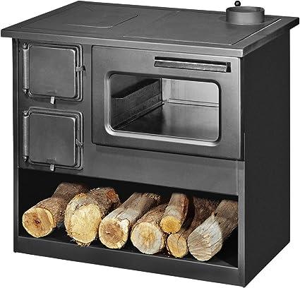 Estufa de leña con horno y quemador, 9 kW, ...