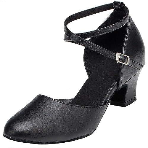 Minitoo Mujer Cruz Correa Piel Salsa Latina Zapatos de Baile, Color Negro, Talla 42