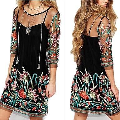 OHQ Jupe en Dentelle BrodéE Noir Womens Boho Vintage Maille Sheer Brodé  Floral Party Mini Robe f3ece8a7043