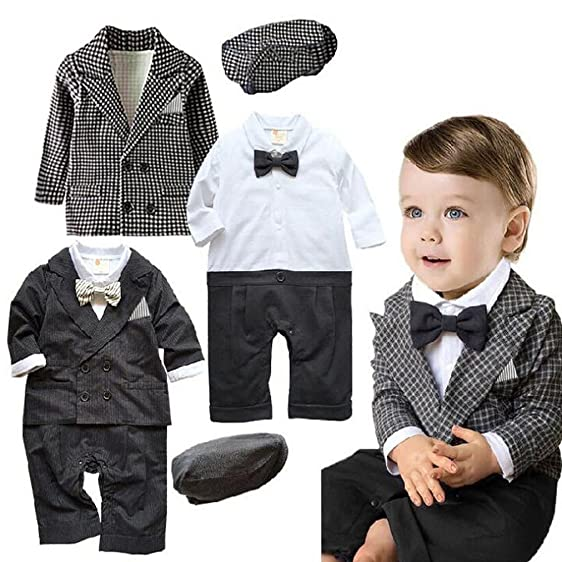 Baby Boy Gentleman Tuxedo Birthday Wedding Romper Coat Jacket Suit With Hat