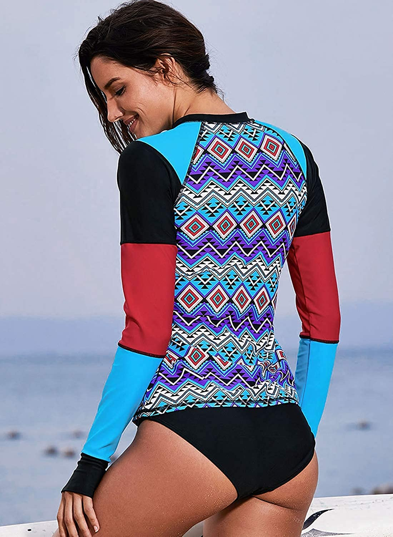 Cutiefox Womens Long Sleeve Print Surfing Rashguard Shirts Swimsuit Tops CFPSW7063