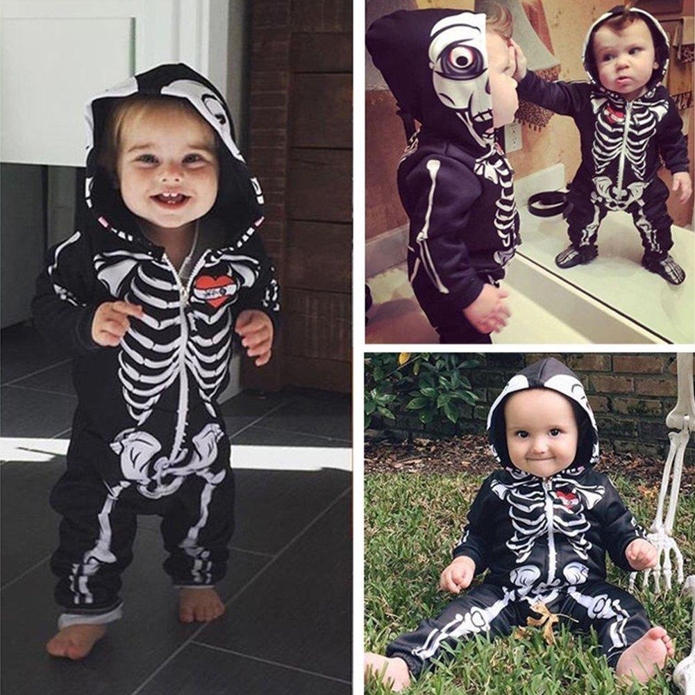 Zhouba, tutina unica da neonato a maniche lunghe con cappuccio, modello con scheletro, per tutti i bambini As the pictures show 0-6 mesi