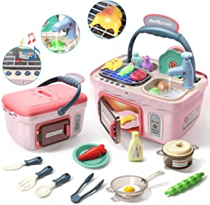 CUTE STONE Kids Play Kitchen Picnic Playset,Portable Picnic Basket Toys with Musics & Lights,Color Changing Play Food,Kitchen Sink Toys and Pretend Play Oven,Kitchen Toy Sets Gift for Kids Boys Girls