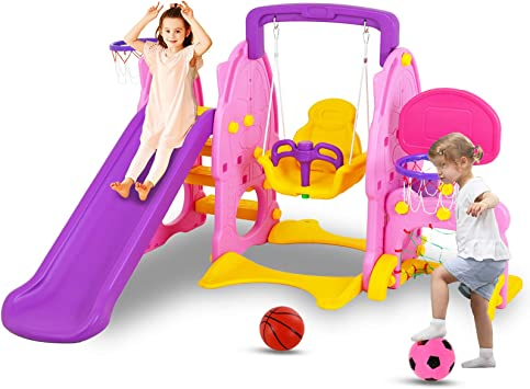 Toddler Slide and Swing Set UNICOO Kids Indoor and Outdoor Playground Combination for Boys /& Girls Kids Playground Set