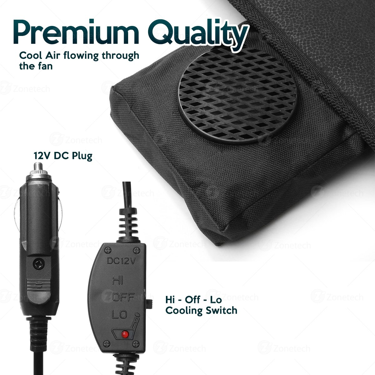 Zone Tech Cooling Car Seat Cushion Black 12V Automotive Adjustable Temperature Comfortable Cooling Car Seat Cushion Comfort Wheels