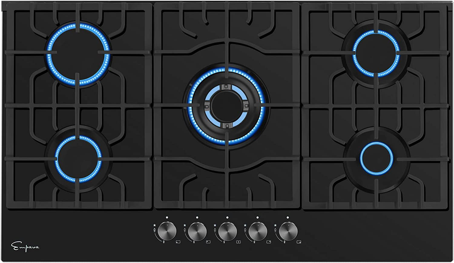 "Empava 36"" Built-in Gas Cooktop in Black Tempered Glass with 5 Burners 36XGC27"