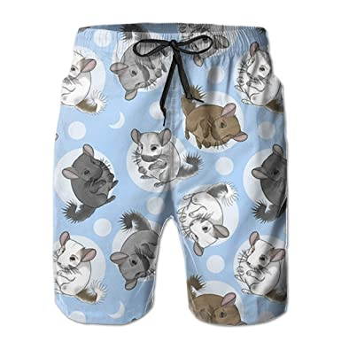 15d25dae00d Amazon.com: Small Blue Chinchillas and Moon Mens Beach Board Shorts Quick  Dry Swim Trunks: Clothing