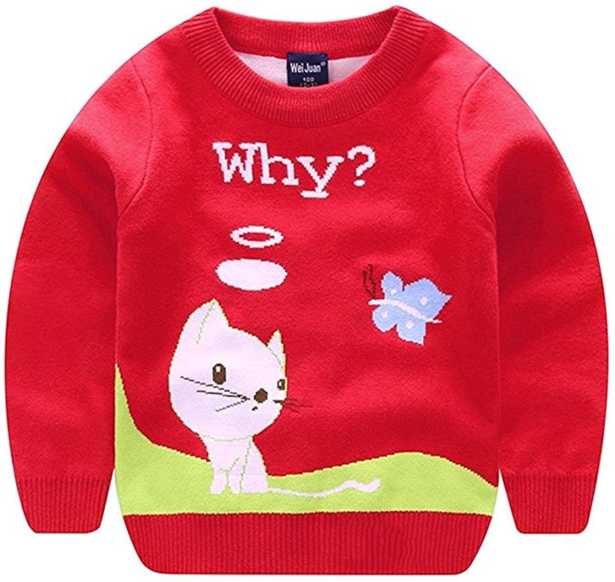 Unisex Kids Baby Winter Cotton Knit Cat Round Neck Pullover Sweater Sweatshirt Outwear 1-6T