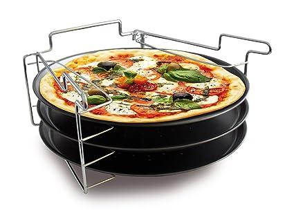 Baumalu 3776 - Lote de 3 bandejas para pizza con soporte
