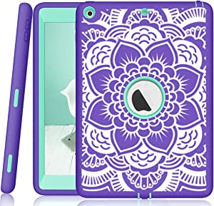 iPad 5th/6th Generation Case, Hocase Heavy Duty Shock Absorbent Rubber+Hard Plastic Dual Layer Protective Case w/ Mandala Floral Print and Kickstand for iPad 9.7 2018/2017 - Purple / Teal