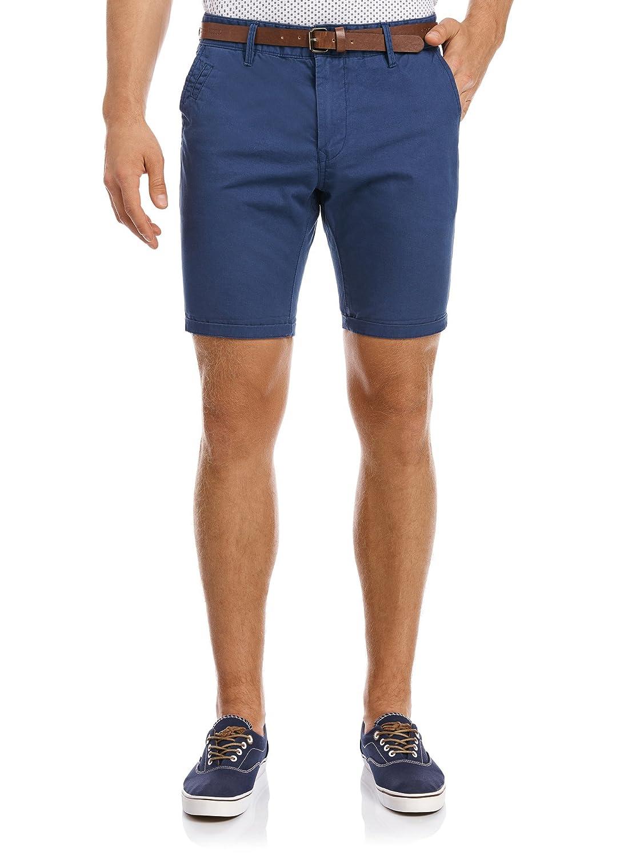 oodji Ultra Hombre Pantalón Corto Básico de Algodón, Azul, ES 36 / XS: Amazon.es: Ropa y accesorios