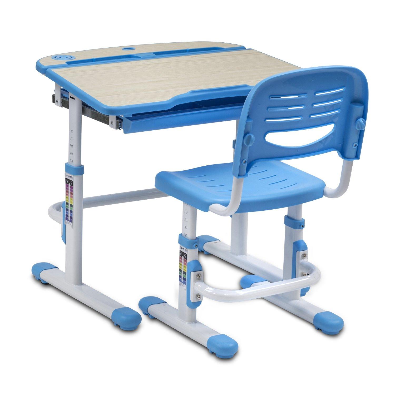 Mount-It! Children's Desk and Chair Set, Kids School Workstation, Height Adjustable, Blue by Mount-It! (Image #2)