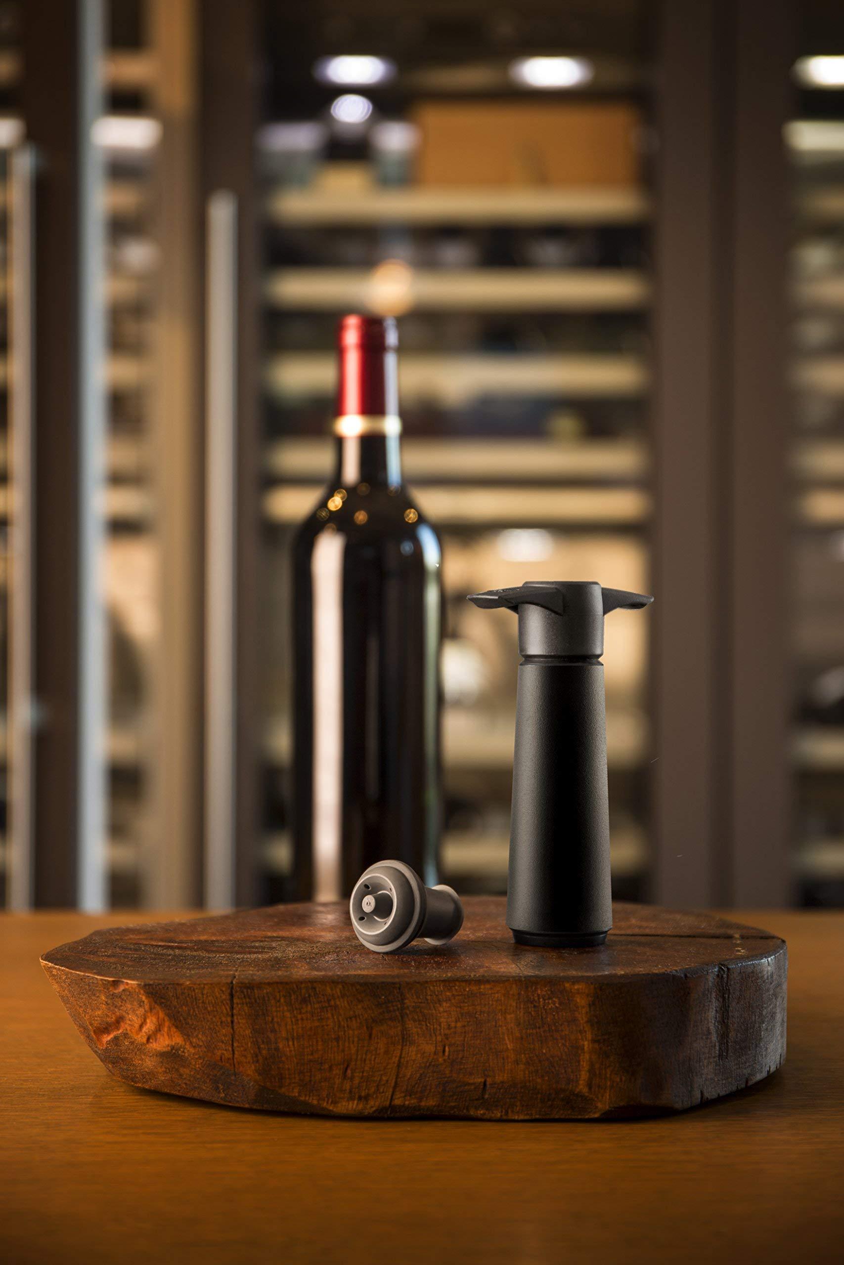 The Original Vacu Vin Wine Saver with 2 Vacuum Stoppers – Black by Vacu Vin (Image #2)
