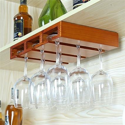 Madera montada en la pared de pino madera Wine Rack Bar Craft Hanging Counter Portavasos Decoración