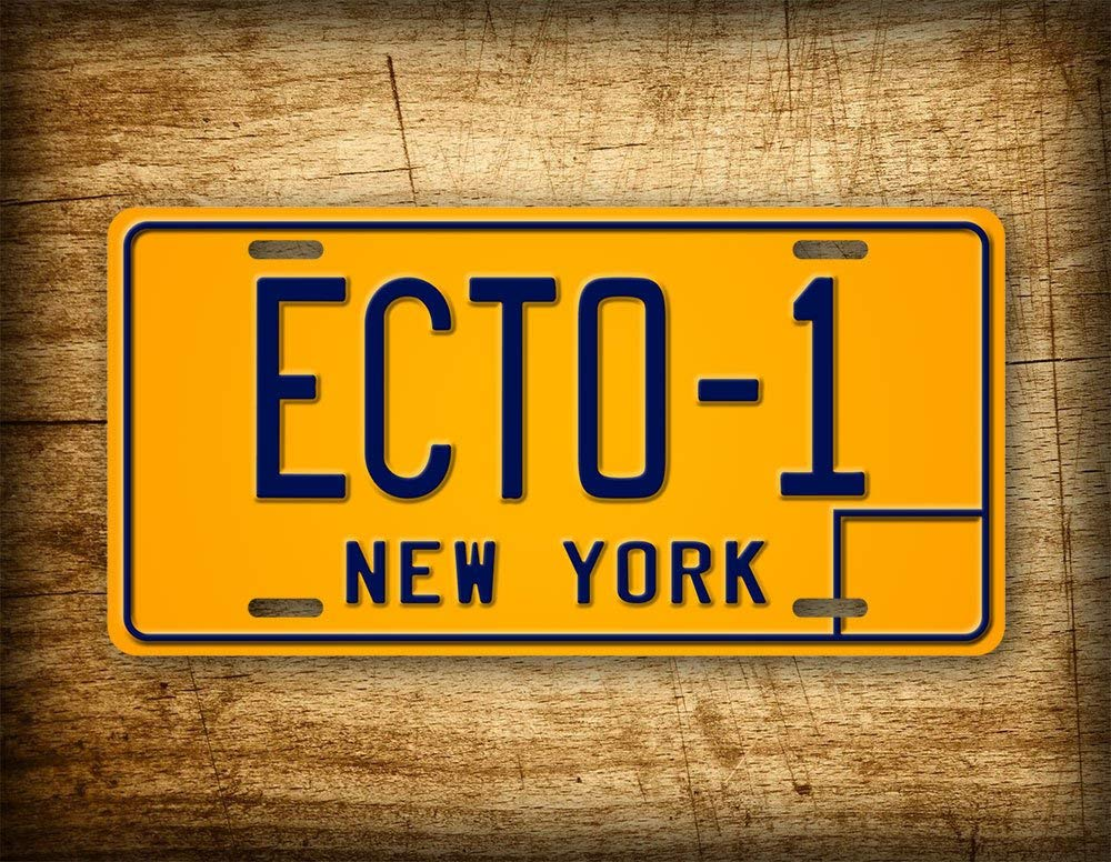 Fhdang Decor Ghostbusters Movie Replica License Plate ECTO-1 New York Vintage Auto Tag 1959 Cadillac Hearse Prop Metal Sign