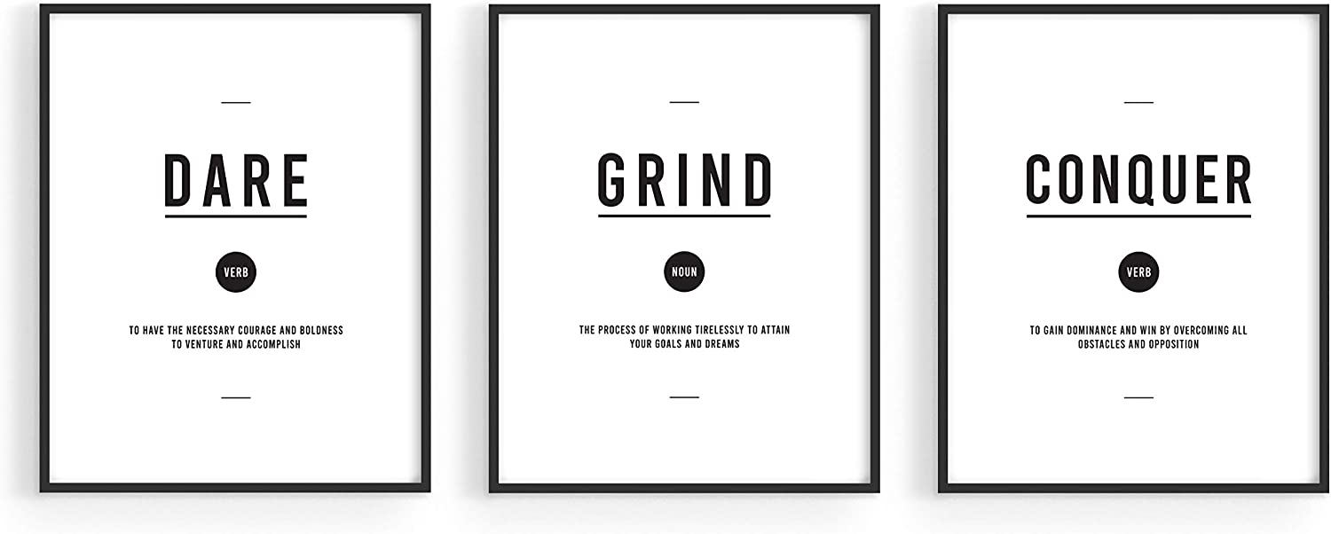 "Motivational Wall Art Prints Office Decor - Set of 3 Inspirational Quotes Wall Art For Office and Home Gym Motivational Posters For Office | Empowering Bedroom Artwork Hustle Wall Art Grind Poster (8""x10"", UNFRAMED)"
