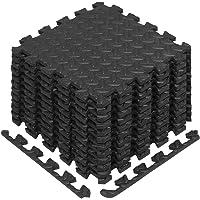 Yes4All Enclavamiento colchonetas de Espuma con Borde–Cubre de 12y 24SQ. Ft (Negro)