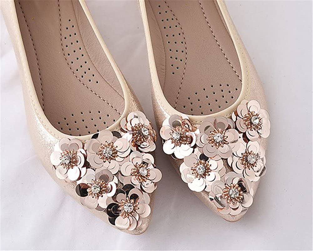 Rose town Womens Ballerina Bling Flower Walking Flats