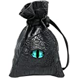 Haxtec Dice Bag Drawstring Leather DND Dice Pouch Storage Bag for D&D Dices, Coins and Accessories (Eternal-Blue Eye)
