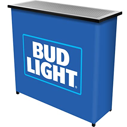 Trademark Global Bud Light Metal 2-Shelf Portable Bar Table