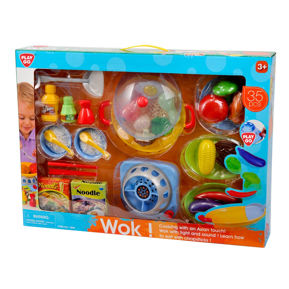 Playgo Ustensiles de cuisine de jouet pour enfant fille garçon 35 pièces 3698