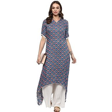 e5966256ba1 Ziyaa women s Multi Colour Flared Rayon Digital Print Kurta ...