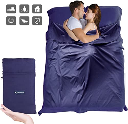 Sleeping Bag Liner, Beauty Star Super Lightweight Single Double 2 Person Sleeping Bag for Camping, Backpacking, Hiking, Hotel, Portable Envelope Ultralight Sleep Sack with Compression Sack Navy Blue