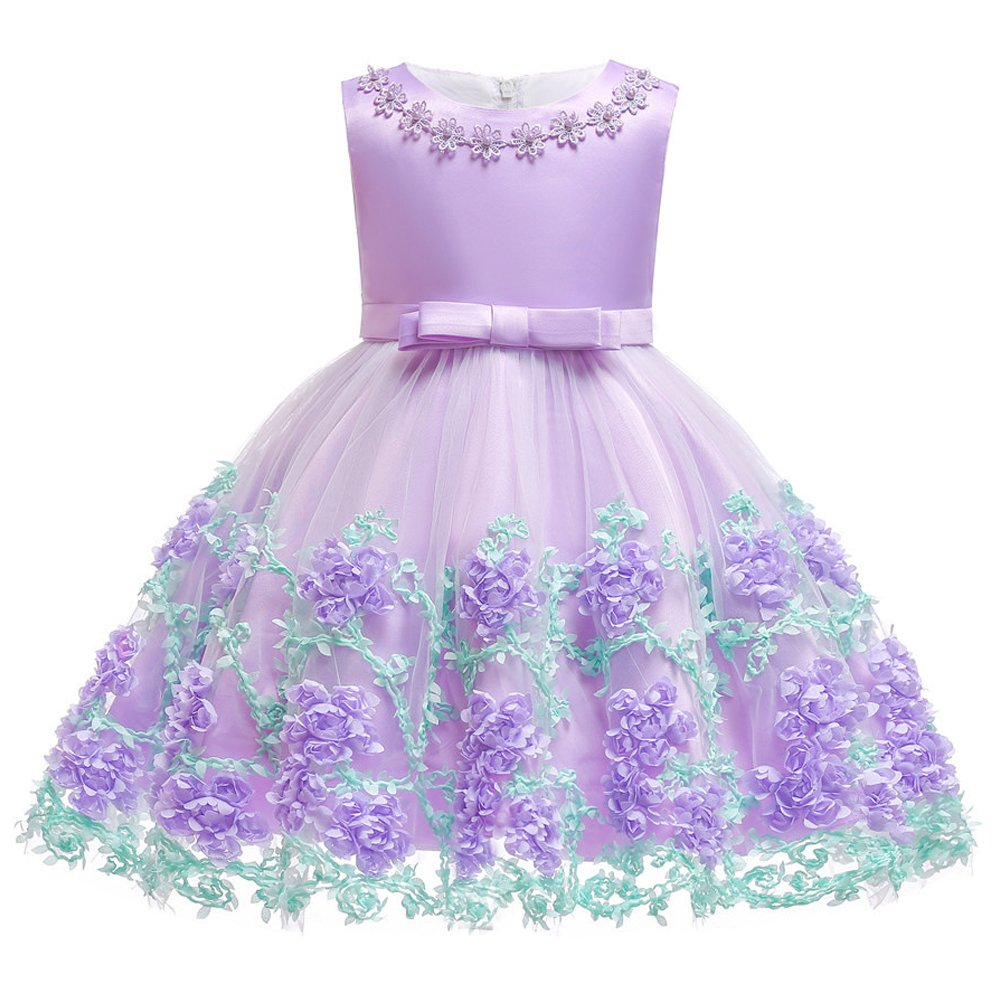 OBEEII Baby Girls Flower Ruffle Layers Princess Dress Toddler Kids Sleeveless Floral Bowknot Dress Cute Tulle Spliced Tutu Skirt Birthday Party Clothes Newborn Infant 6 Months-3 Years