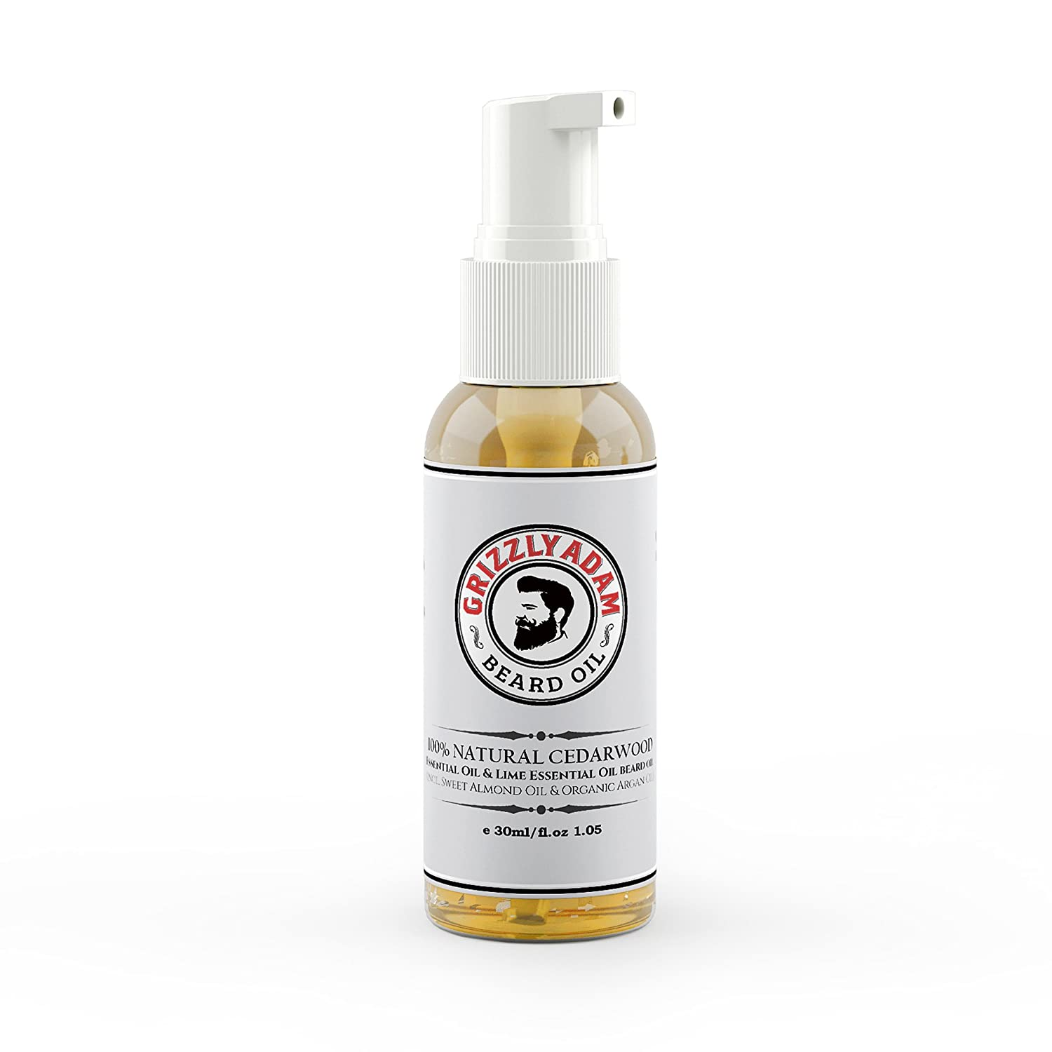 Beard Oil | Cedar & Lime | 100% Natural | Moisturizes Beard Hair and Skin, Eliminates Itching and Dandruff | 30ml by GRIZZLY ADAM