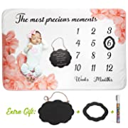 AMIS BG Baby Monthly Milestone Blanket Girl Photo Prop Newborn - Fleece Large 60 x40  Milestone Chalkboard Sign, Marker and Frame Included, Photography Background Baby Shower Gift