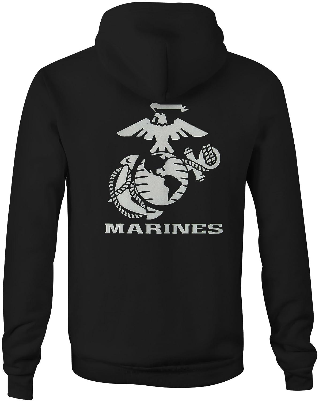 3XL Black One Stop Services Zip Up Hoodie US Marines Eagle Globe Anchor Crest USMC Semper Fi Sweatshirt